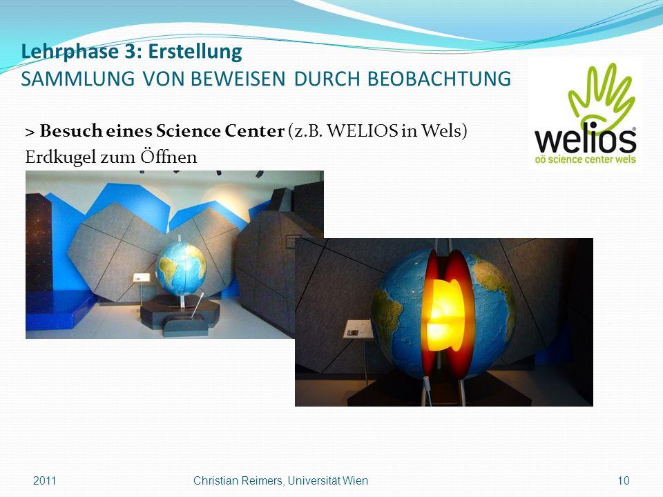 Lehrphase 3: Erstellung SAMMLUNG VON BEWEISEN DURCH BEOBACHTUNG > Besuch eines Science Center (z.B. WELIOS in Wels) Erdkugel zum Öffnen 201110Christia
