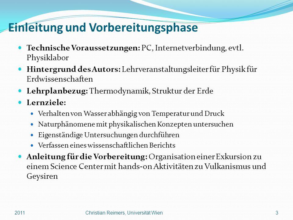 Lehrphase 4: Diskussion ÜBERLEGUNG ANDERER ERKLÄRUNGEN > Lehrperson: Fragen, ob andere Erklärungen möglich sind Geysire oder Wasser-Fontänen ohne Hitze: Kalt-Wasser-Geysire mit CO2, kohlendioxid-getrieben (z.B.
