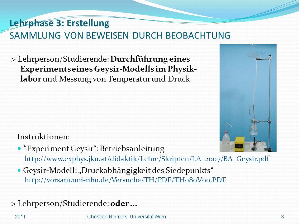 Lehrphase 3: Erstellung SAMMLUNG VON BEWEISEN DURCH BEOBACHTUNG > Lehrperson/Studierende: Durchführung eines Experiments eines Geysir-Modells im Physi