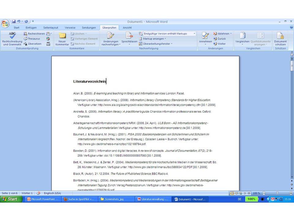 Inhaltsverzeichnis mit Word