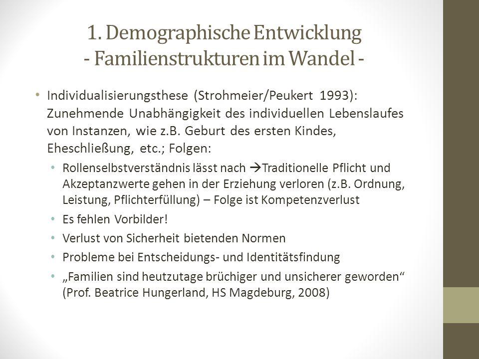 1. Demographische Entwicklung - Familienstrukturen im Wandel - Individualisierungsthese (Strohmeier/Peukert 1993): Zunehmende Unabhängigkeit des indiv
