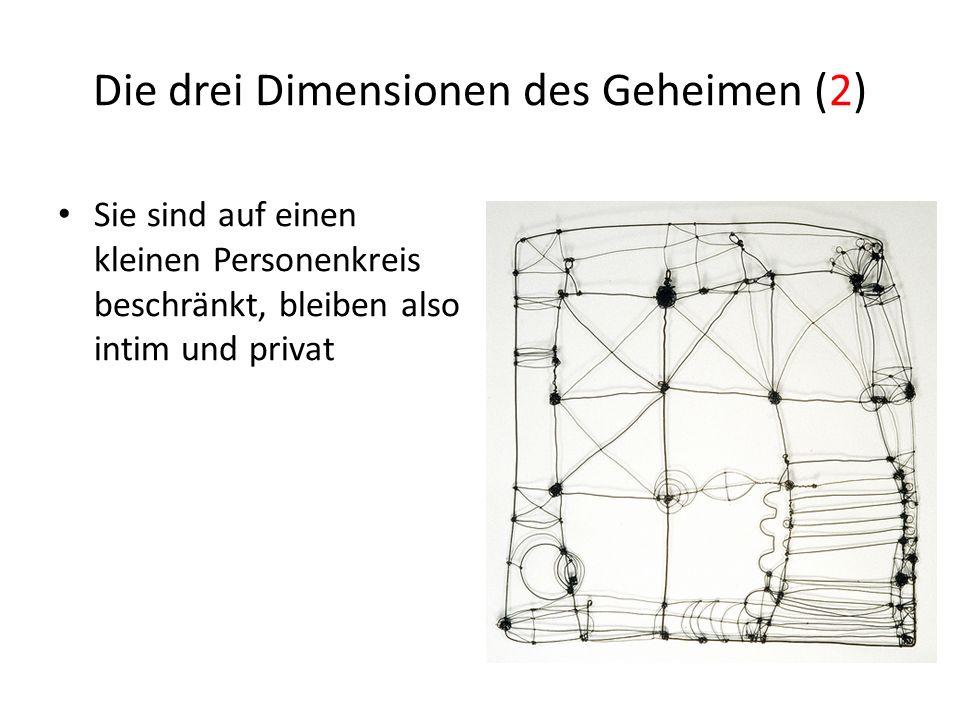 Die drei Dimensionen des Geheimen (2) Sie sind auf einen kleinen Personenkreis beschränkt, bleiben also intim und privat