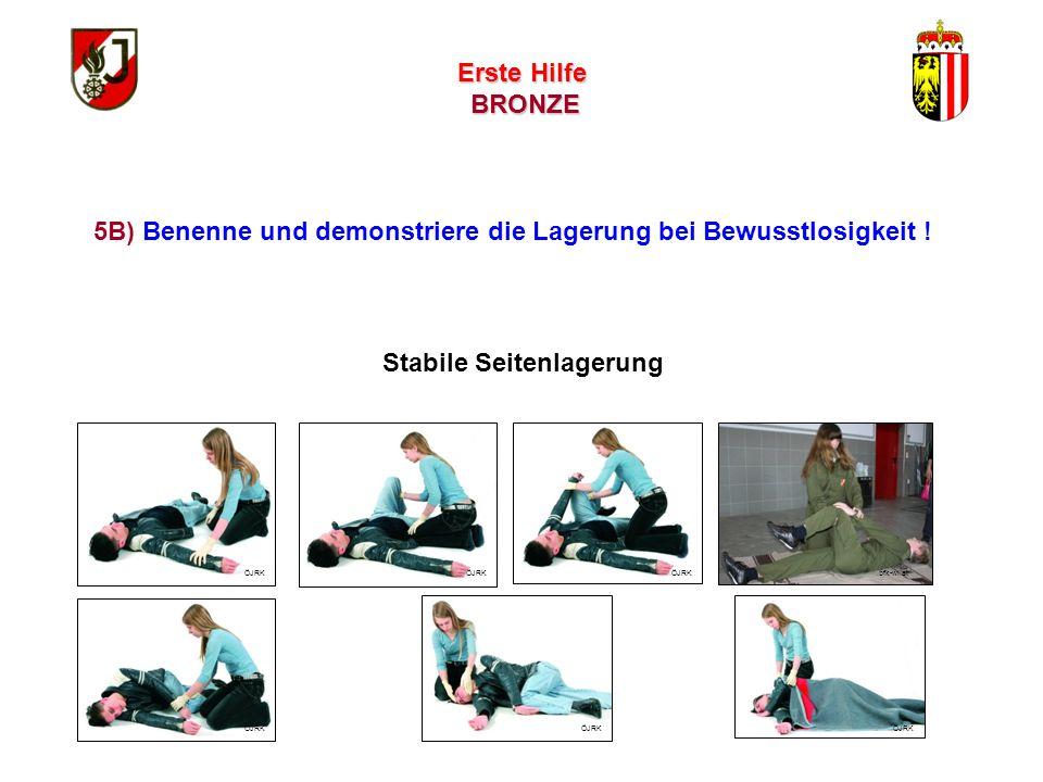 Erste Hilfe BRONZE 1. Bewusstseinskontrolle Verunglückten laut ansprechen, sanft an den Schultern schütteln 2. Hilferuf (Hilfe, Hilfe, helfen Sie mir!