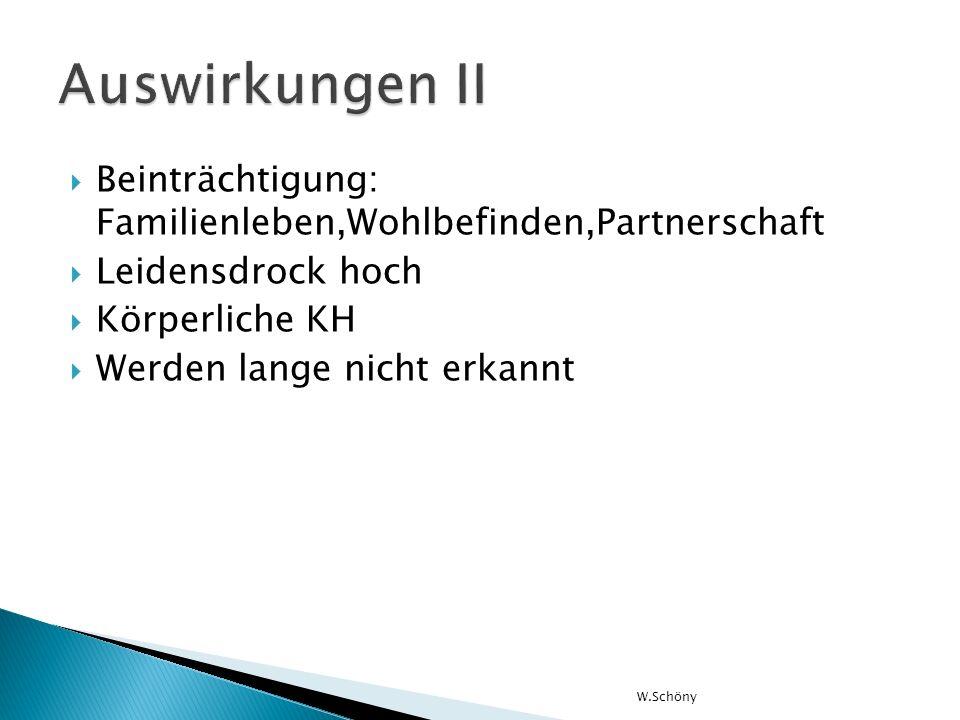 Beinträchtigung: Familienleben,Wohlbefinden,Partnerschaft Leidensdrock hoch Körperliche KH Werden lange nicht erkannt W.Schöny