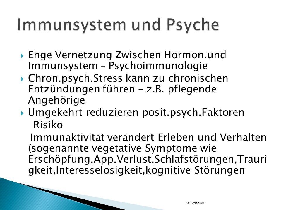 Enge Vernetzung Zwischen Hormon.und Immunsystem – Psychoimmunologie Chron.psych.Stress kann zu chronischen Entzündungen führen – z.B. pflegende Angehö