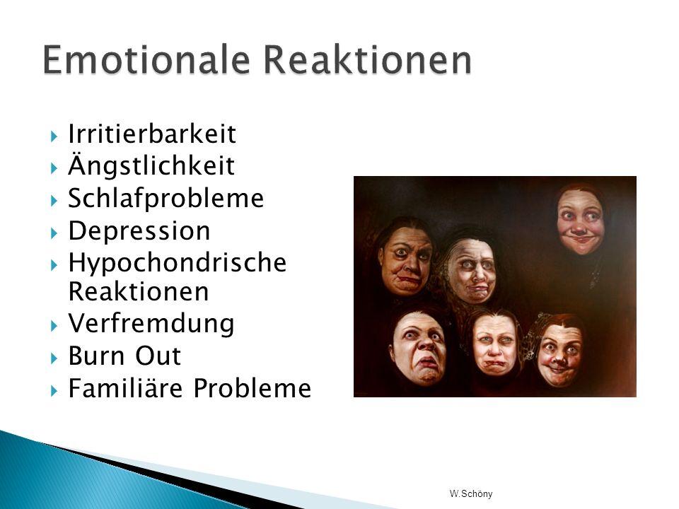 Irritierbarkeit Ängstlichkeit Schlafprobleme Depression Hypochondrische Reaktionen Verfremdung Burn Out Familiäre Probleme W.Schöny