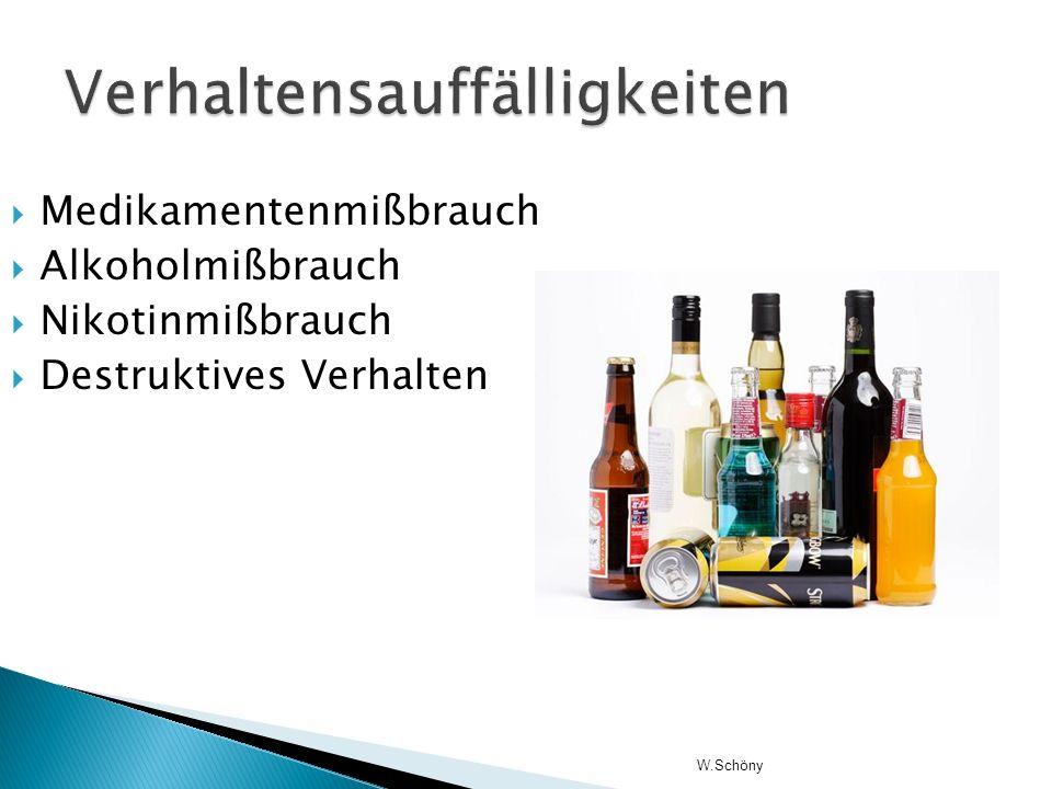 Medikamentenmißbrauch Alkoholmißbrauch Nikotinmißbrauch Destruktives Verhalten W.Schöny