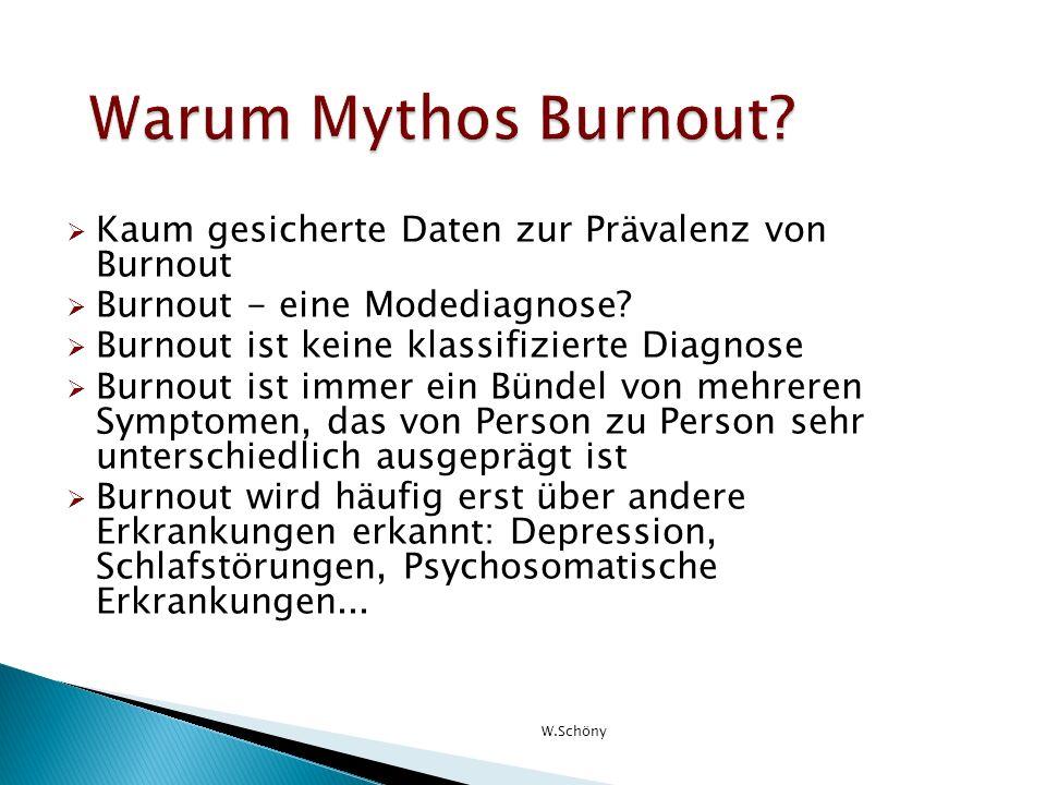Kaum gesicherte Daten zur Prävalenz von Burnout Burnout - eine Modediagnose? Burnout ist keine klassifizierte Diagnose Burnout ist immer ein Bündel vo