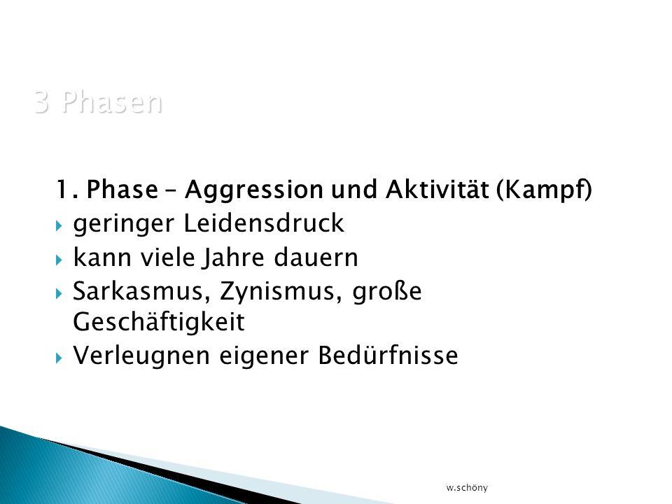 1. Phase – Aggression und Aktivität (Kampf) geringer Leidensdruck kann viele Jahre dauern Sarkasmus, Zynismus, große Geschäftigkeit Verleugnen eigener