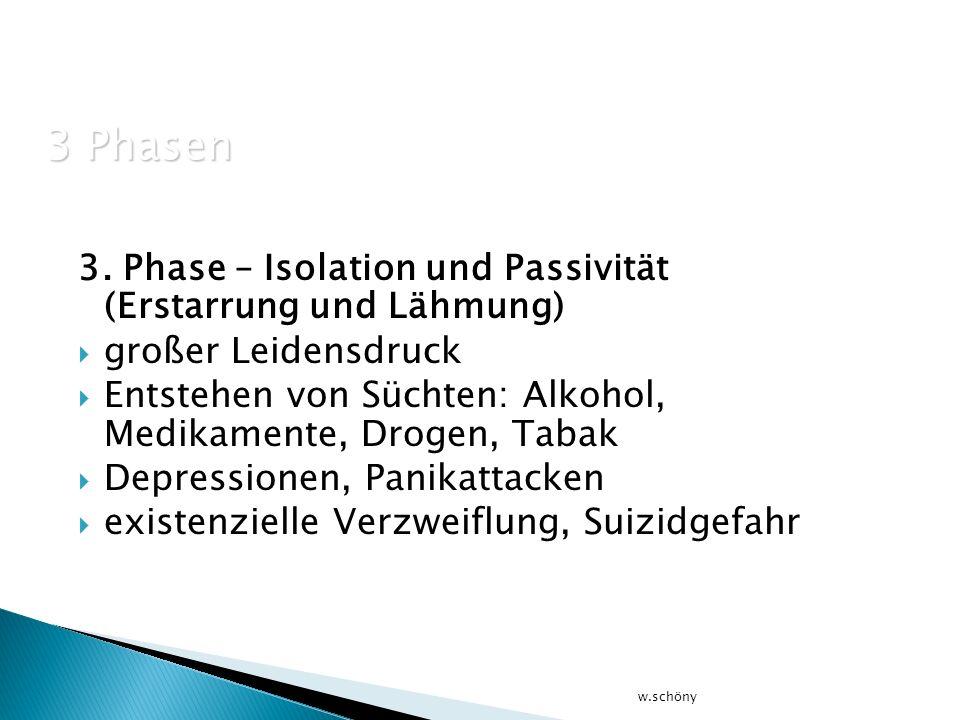 3. Phase – Isolation und Passivität (Erstarrung und Lähmung) großer Leidensdruck Entstehen von Süchten: Alkohol, Medikamente, Drogen, Tabak Depression