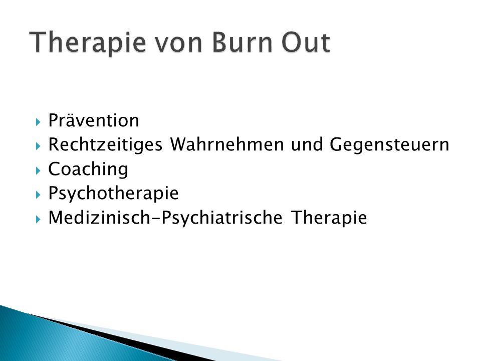Prävention Rechtzeitiges Wahrnehmen und Gegensteuern Coaching Psychotherapie Medizinisch-Psychiatrische Therapie