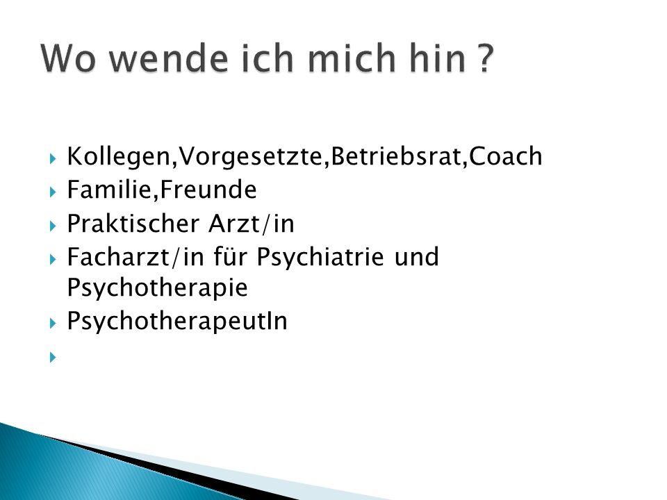 Kollegen,Vorgesetzte,Betriebsrat,Coach Familie,Freunde Praktischer Arzt/in Facharzt/in für Psychiatrie und Psychotherapie PsychotherapeutIn