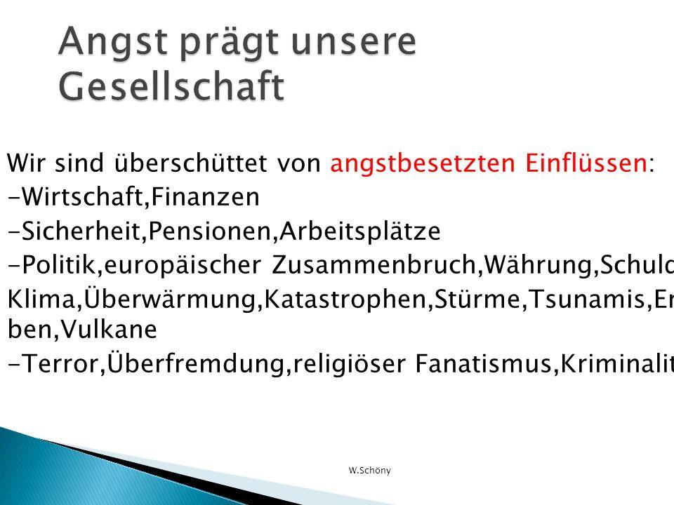 Wir sind überschüttet von angstbesetzten Einflüssen: -Wirtschaft,Finanzen -Sicherheit,Pensionen,Arbeitsplätze -Politik,europäischer Zusammenbruch,Währ