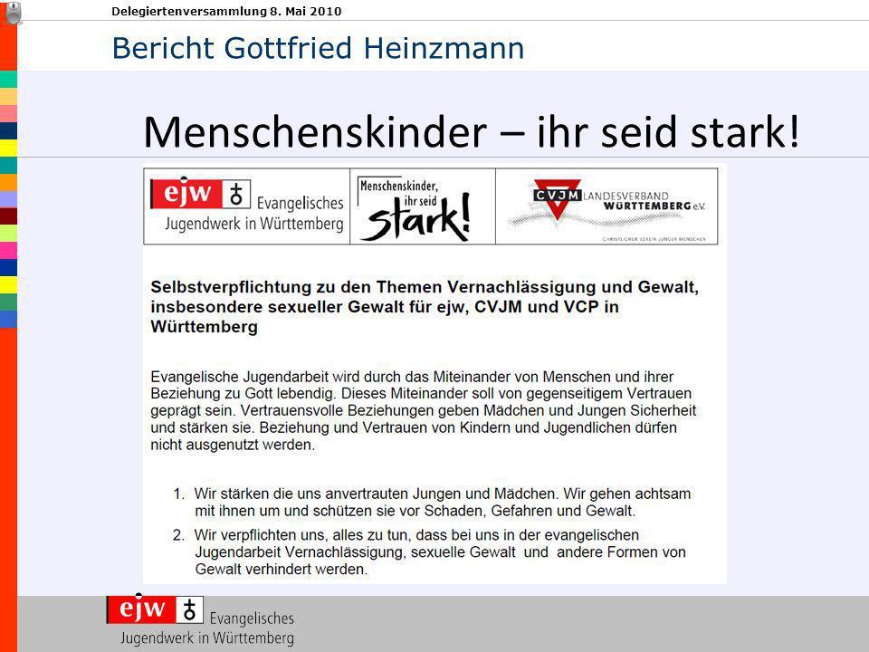 Delegiertenversammlung 8. Mai 2010 Menschenskinder – ihr seid stark! Bericht Gottfried Heinzmann