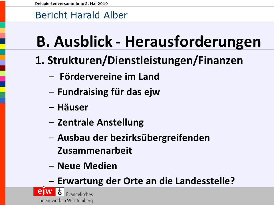 Delegiertenversammlung 8. Mai 2010 B. Ausblick - Herausforderungen 1. Strukturen/Dienstleistungen/Finanzen – Fördervereine im Land –Fundraising für da