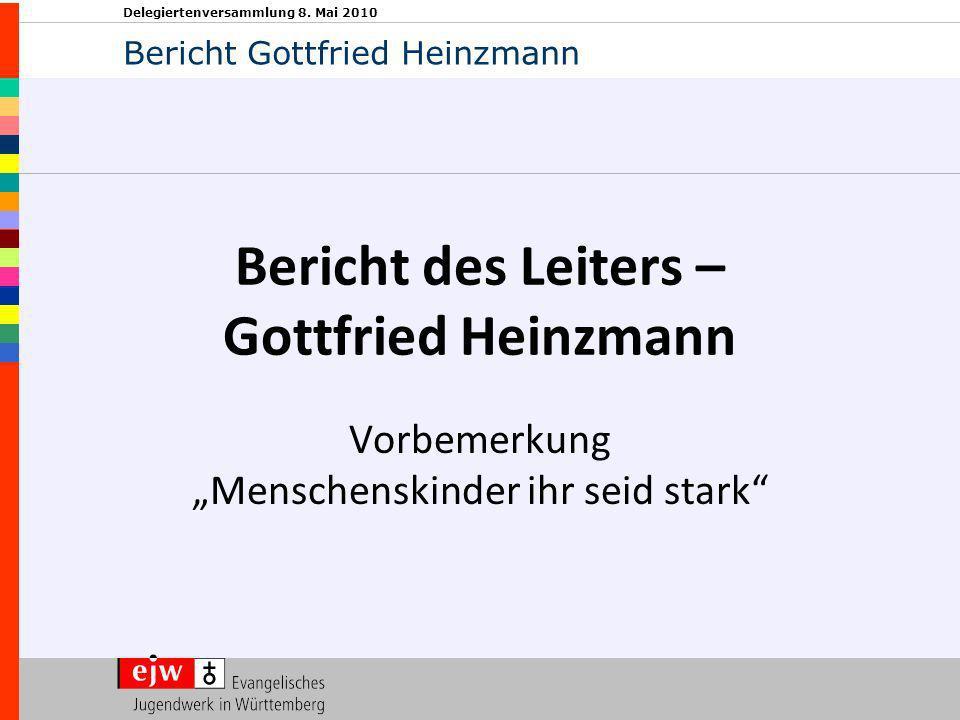 Delegiertenversammlung 8. Mai 2010 Bericht des Leiters – Gottfried Heinzmann Vorbemerkung Menschenskinder ihr seid stark Bericht Gottfried Heinzmann