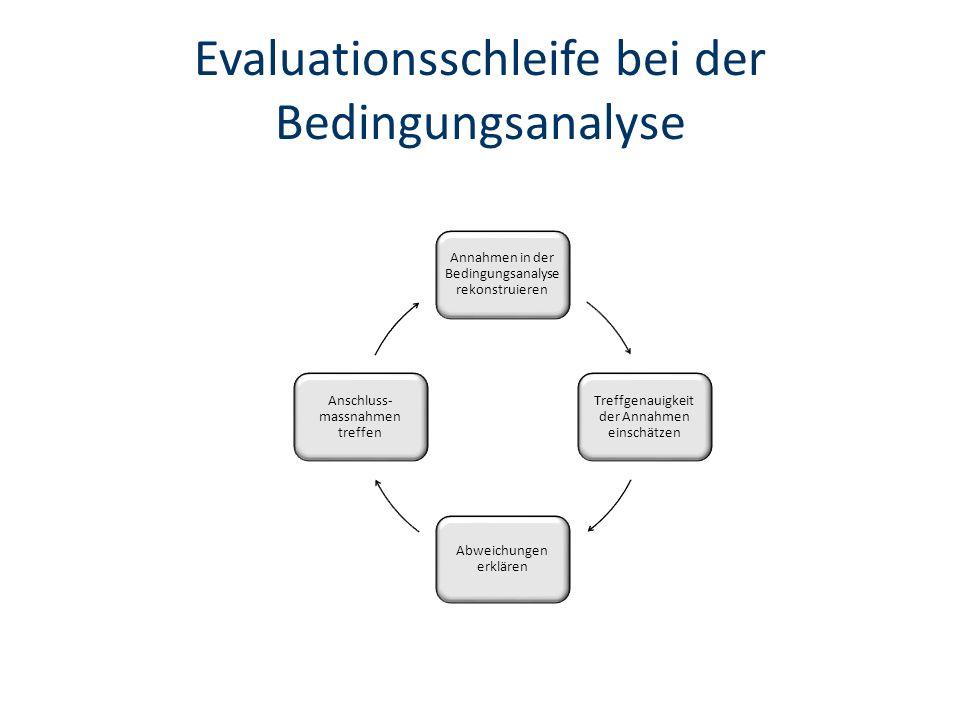 Evaluationsschleife bei der Bedingungsanalyse Annahmen in der Bedingungsanalyse rekonstruieren Treffgenauigkeit der Annahmen einschätzen Abweichungen erklären Anschluss- massnahmen treffen