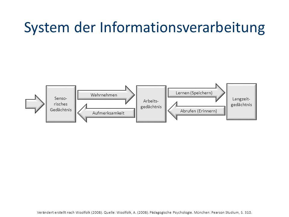System der Informationsverarbeitung Langzeit- gedächtnis Lernen (Speichern) Abrufen (Erinnern) Arbeits- gedächtnis Wahrnehmen Aufmerksamkeit Senso- risches Gedächtnis Verändert erstellt nach Woolfolk (2008).