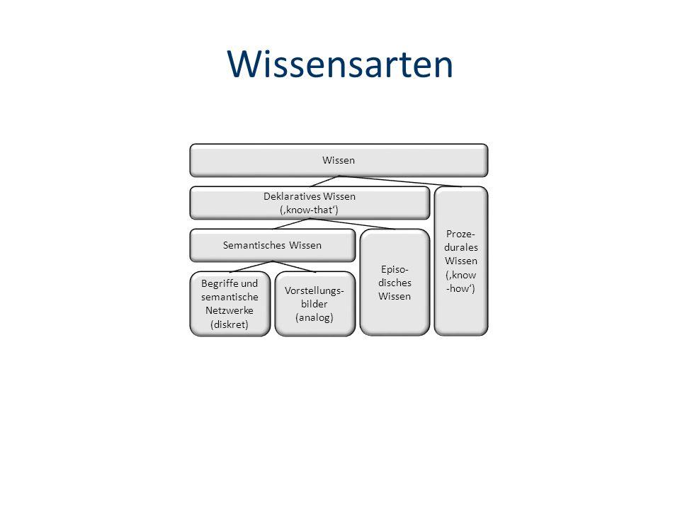 Wissensarten Wissen Deklaratives Wissen (know-that) Proze- durales Wissen (know -how) Semantisches Wissen Episo- disches Wissen Vorstellungs- bilder (analog) Begriffe und semantische Netzwerke (diskret)
