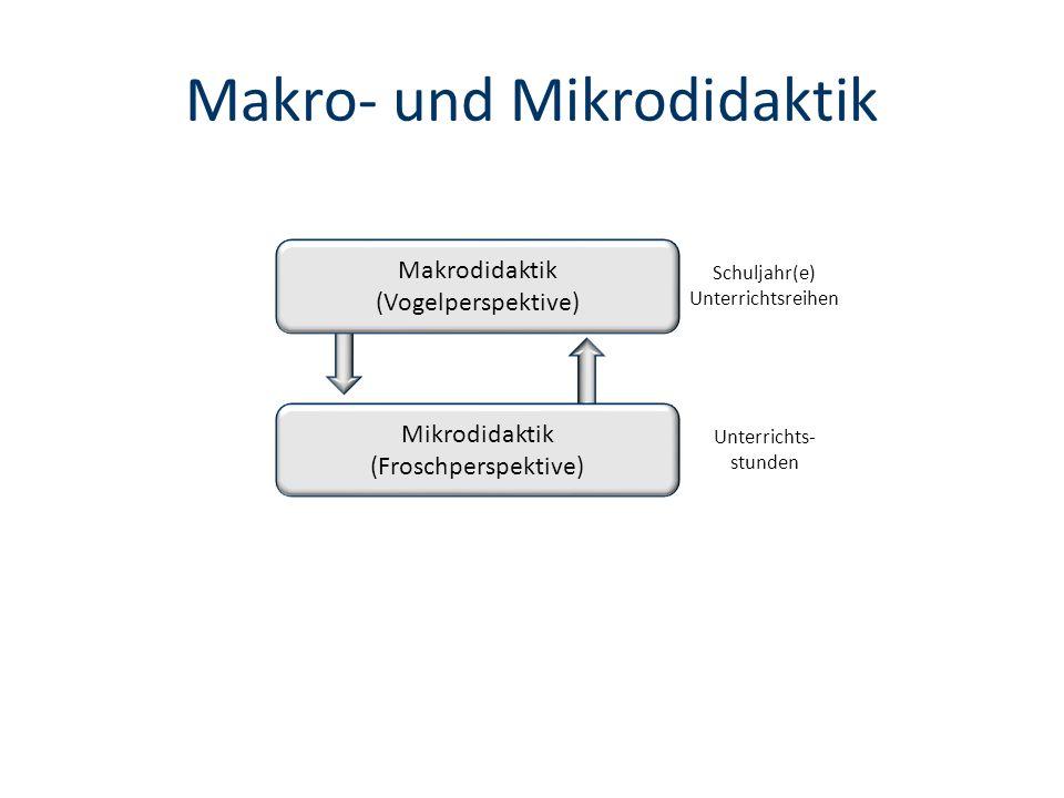 Makro- und Mikrodidaktik Makrodidaktik (Vogelperspektive) Mikrodidaktik (Froschperspektive) Schuljahr(e) Unterrichtsreihen Unterrichts- stunden
