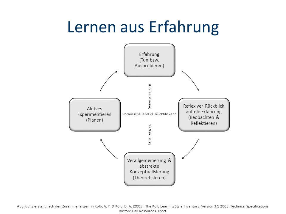 Erfahrung vs.Generalisierung Vorausschauend vs.