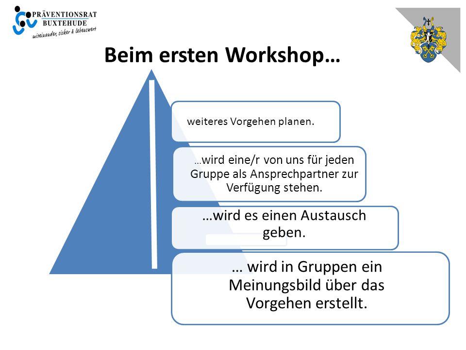 Beim ersten Workshop… weiteres Vorgehen planen.