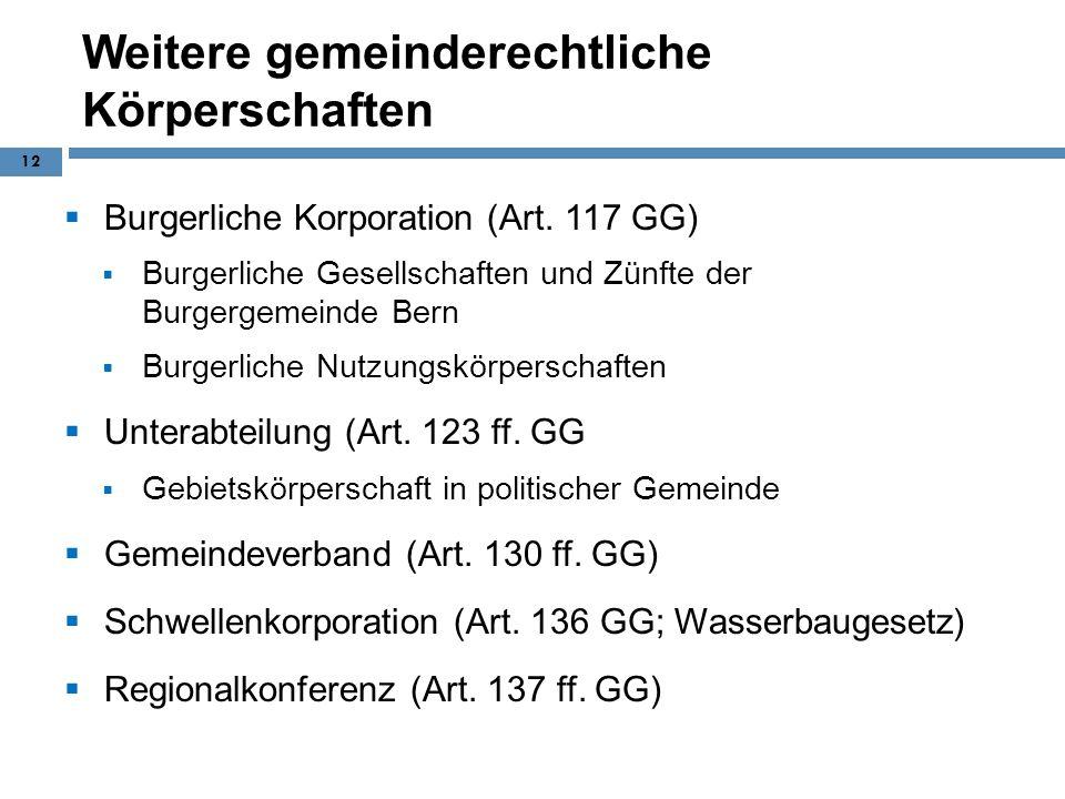 Weitere gemeinderechtliche Körperschaften Burgerliche Korporation (Art. 117 GG) Burgerliche Gesellschaften und Zünfte der Burgergemeinde Bern Burgerli