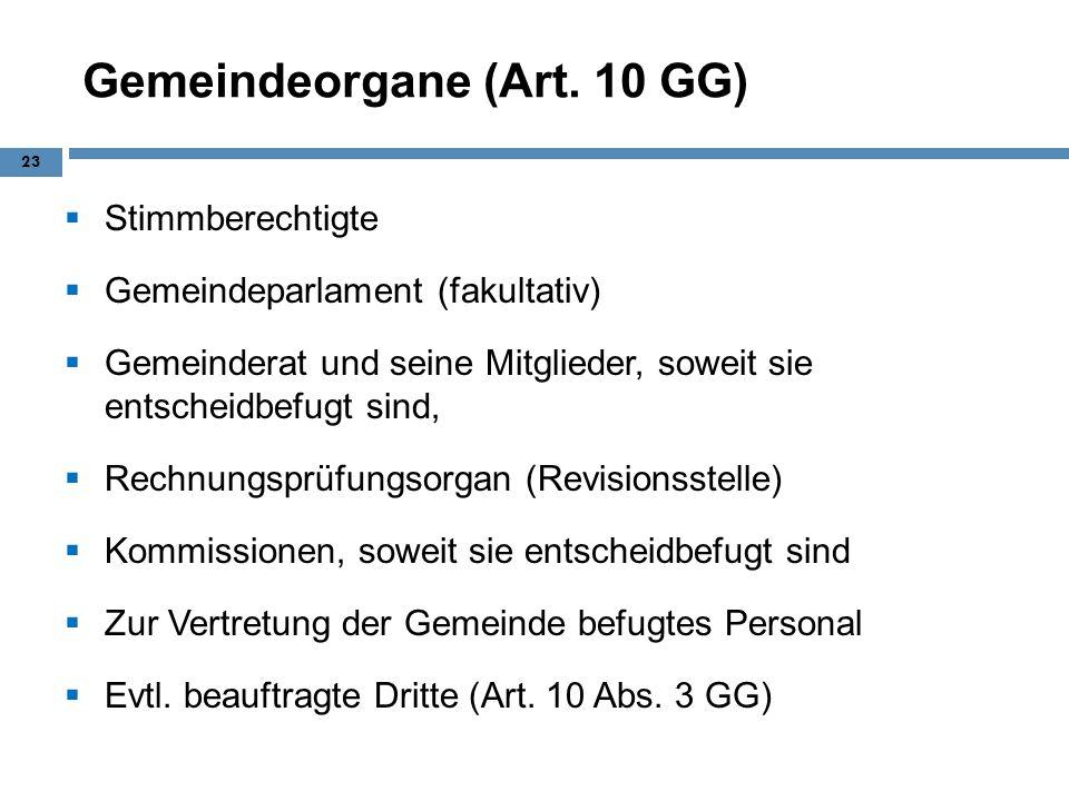 Gemeindeorgane (Art. 10 GG) Stimmberechtigte Gemeindeparlament (fakultativ) Gemeinderat und seine Mitglieder, soweit sie entscheidbefugt sind, Rechnun