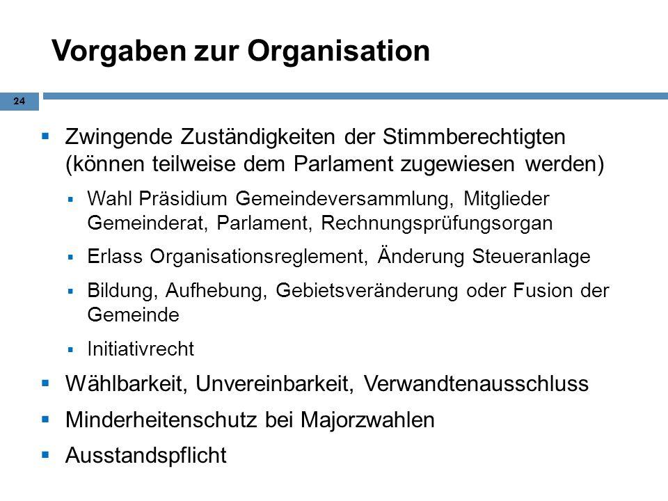 Vorgaben zur Organisation Zwingende Zuständigkeiten der Stimmberechtigten (können teilweise dem Parlament zugewiesen werden) Wahl Präsidium Gemeindeve