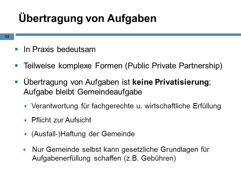 Übertragung von Aufgaben In Praxis bedeutsam Teilweise komplexe Formen (Public Private Partnership) Übertragung von Aufgaben ist keine Privatisierung;