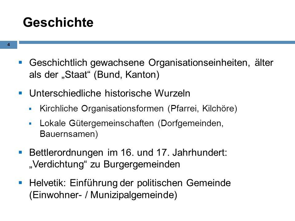 Geschichte Geschichtlich gewachsene Organisationseinheiten, älter als der Staat (Bund, Kanton) Unterschiedliche historische Wurzeln Kirchliche Organis