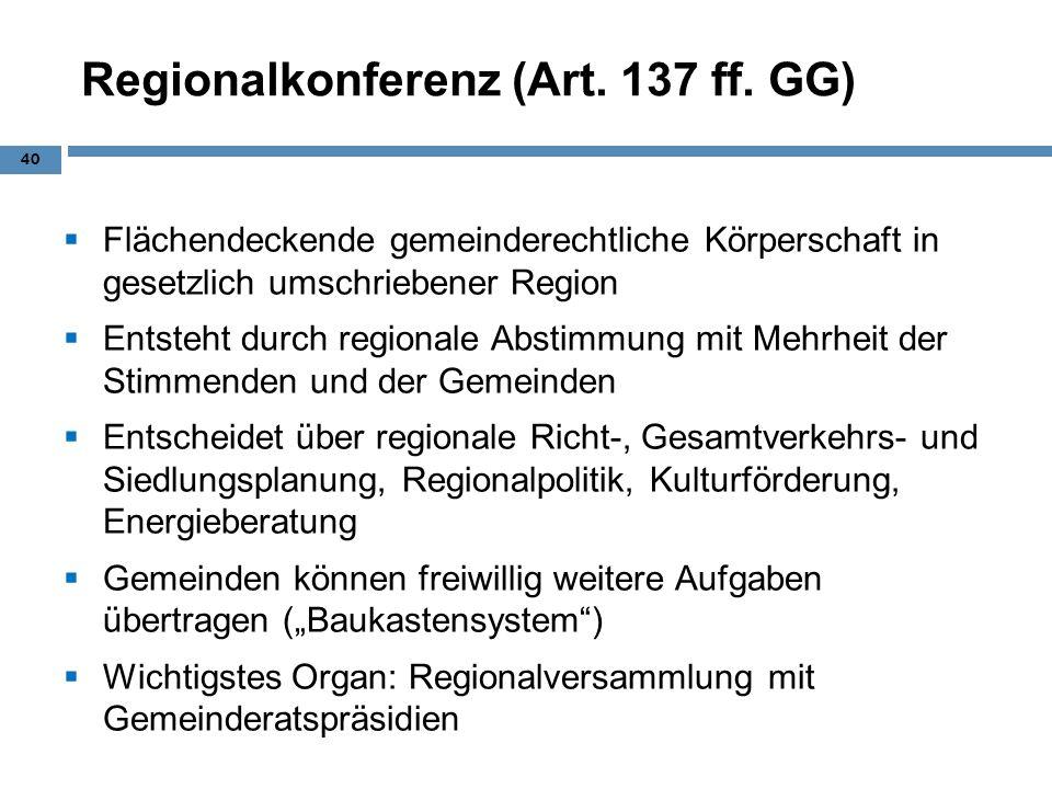 Regionalkonferenz (Art. 137 ff. GG) Flächendeckende gemeinderechtliche Körperschaft in gesetzlich umschriebener Region Entsteht durch regionale Abstim