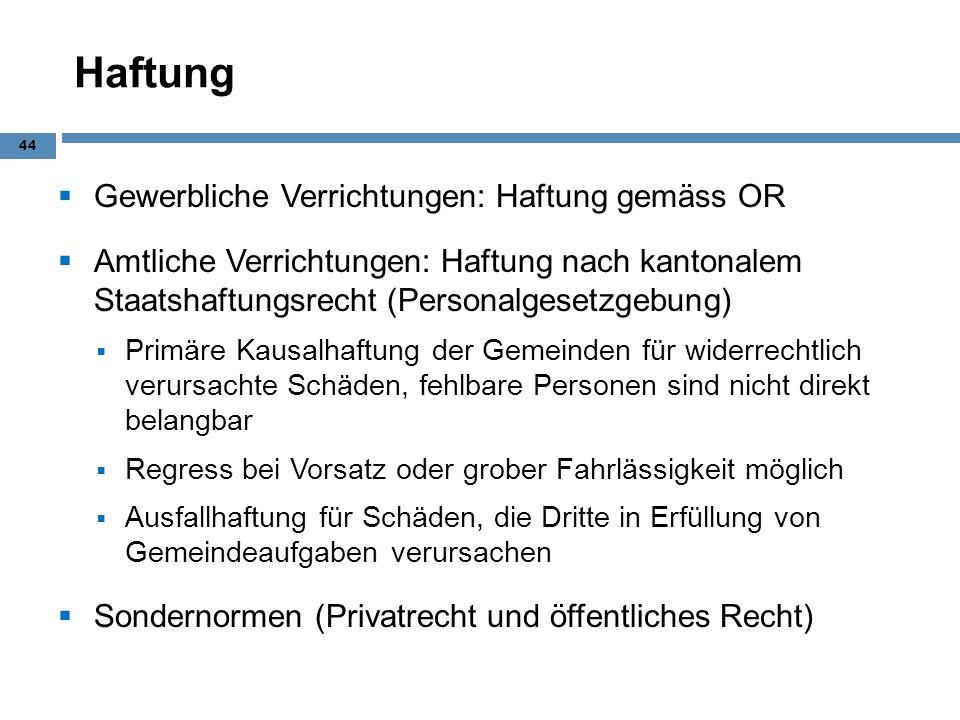 Haftung Gewerbliche Verrichtungen: Haftung gemäss OR Amtliche Verrichtungen: Haftung nach kantonalem Staatshaftungsrecht (Personalgesetzgebung) Primär