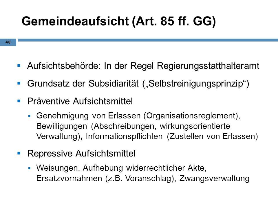 Gemeindeaufsicht (Art. 85 ff. GG) Aufsichtsbehörde: In der Regel Regierungsstatthalteramt Grundsatz der Subsidiarität (Selbstreinigungsprinzip) Präven