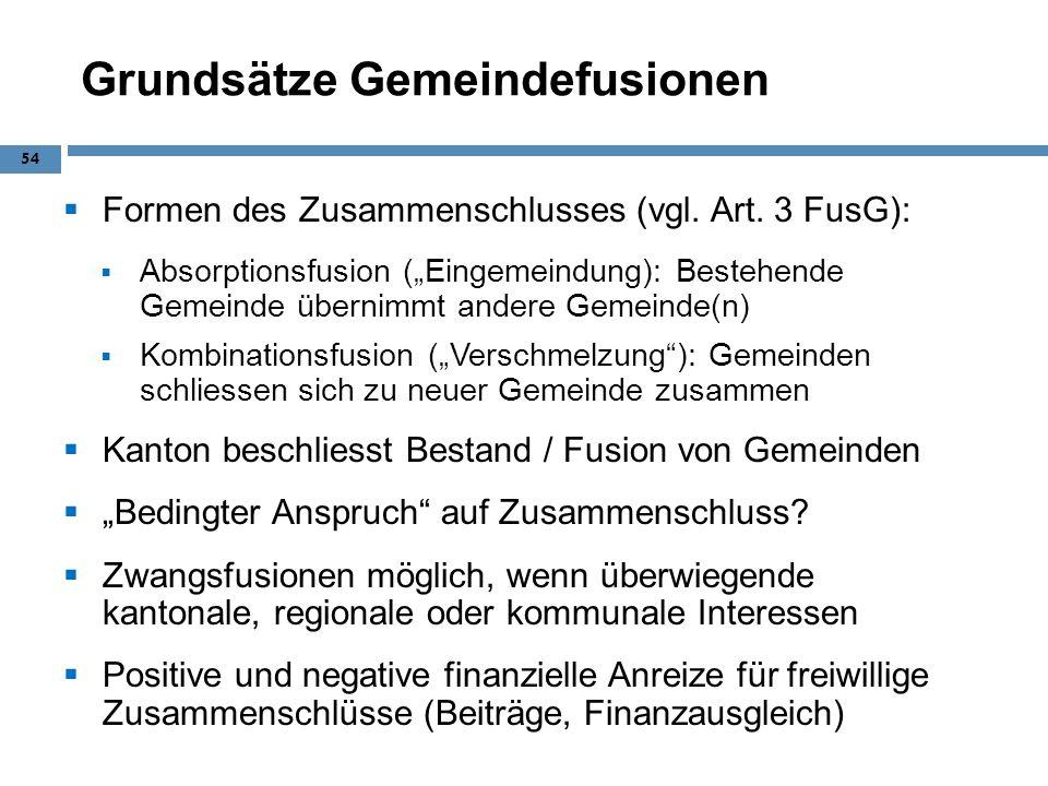 Grundsätze Gemeindefusionen Formen des Zusammenschlusses (vgl. Art. 3 FusG): Absorptionsfusion (Eingemeindung): Bestehende Gemeinde übernimmt andere G