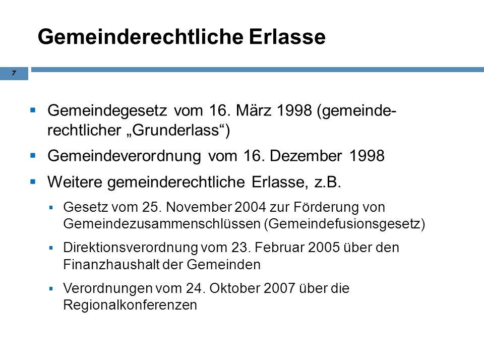 Gemeinderechtliche Erlasse Gemeindegesetz vom 16. März 1998 (gemeinde- rechtlicher Grunderlass) Gemeindeverordnung vom 16. Dezember 1998 Weitere gemei