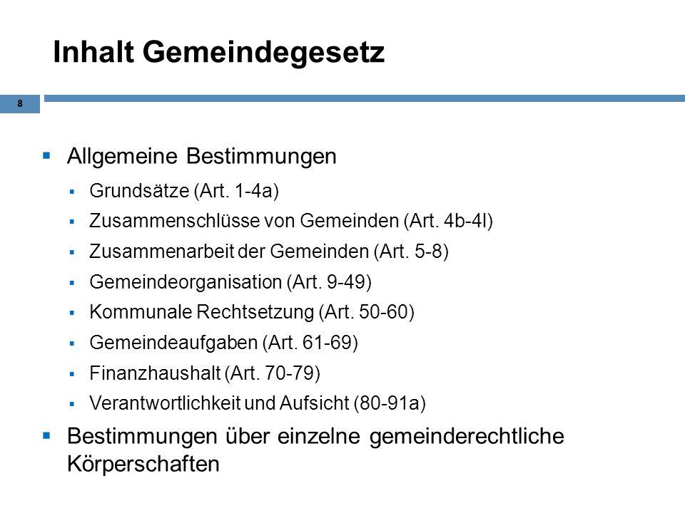 Inhalt Gemeindegesetz Allgemeine Bestimmungen Grundsätze (Art. 1-4a) Zusammenschlüsse von Gemeinden (Art. 4b-4l) Zusammenarbeit der Gemeinden (Art. 5-