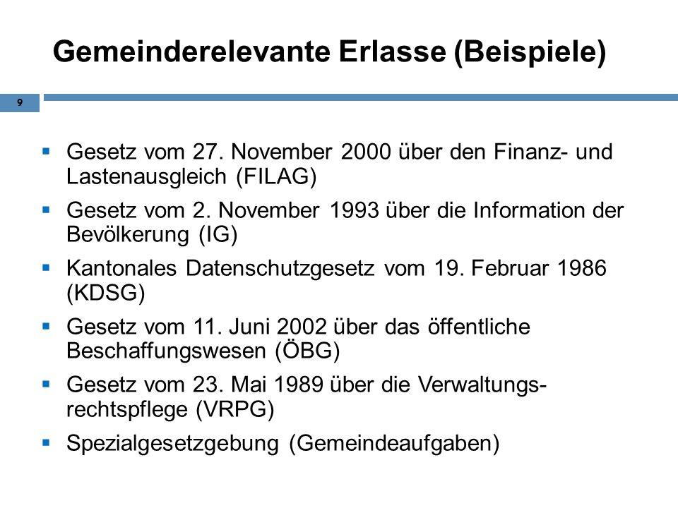 Gemeinderelevante Erlasse (Beispiele) Gesetz vom 27. November 2000 über den Finanz- und Lastenausgleich (FILAG) Gesetz vom 2. November 1993 über die I