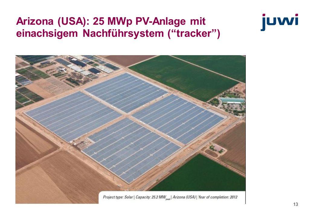 13 Arizona (USA): 25 MWp PV-Anlage mit einachsigem Nachführsystem (tracker)