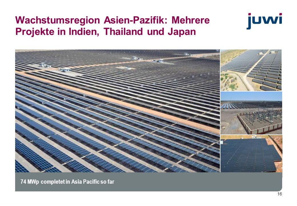 16 74 MWp completet in Asia Pacific so far Wachstumsregion Asien-Pazifik: Mehrere Projekte in Indien, Thailand und Japan