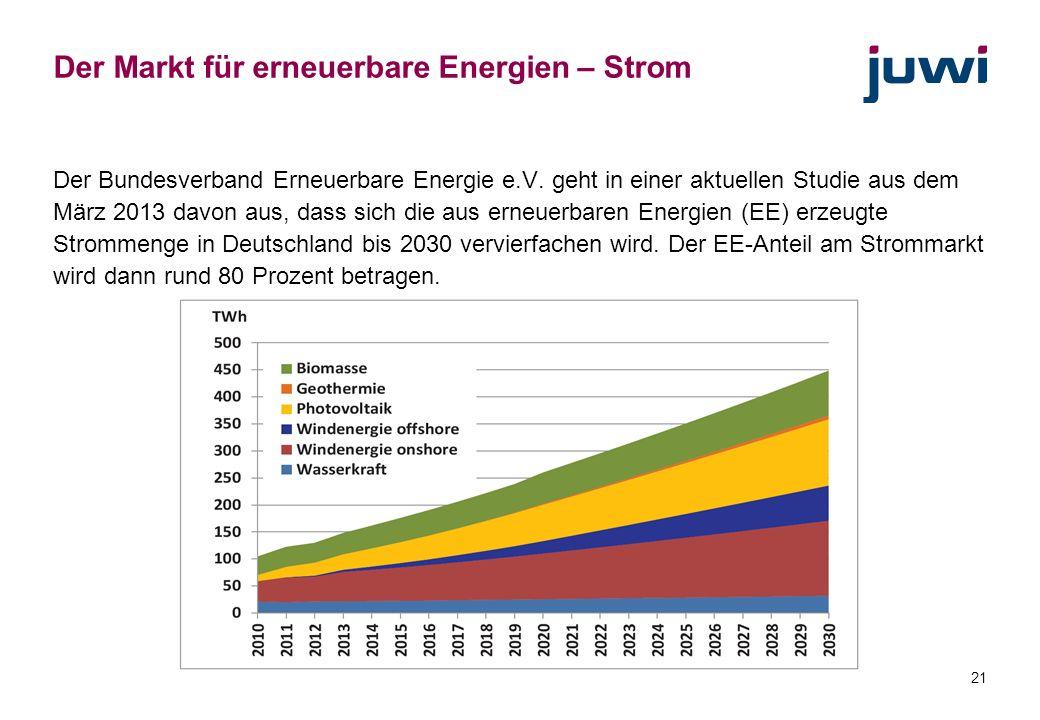 21 Der Markt für erneuerbare Energien – Strom Der Bundesverband Erneuerbare Energie e.V. geht in einer aktuellen Studie aus dem März 2013 davon aus, d