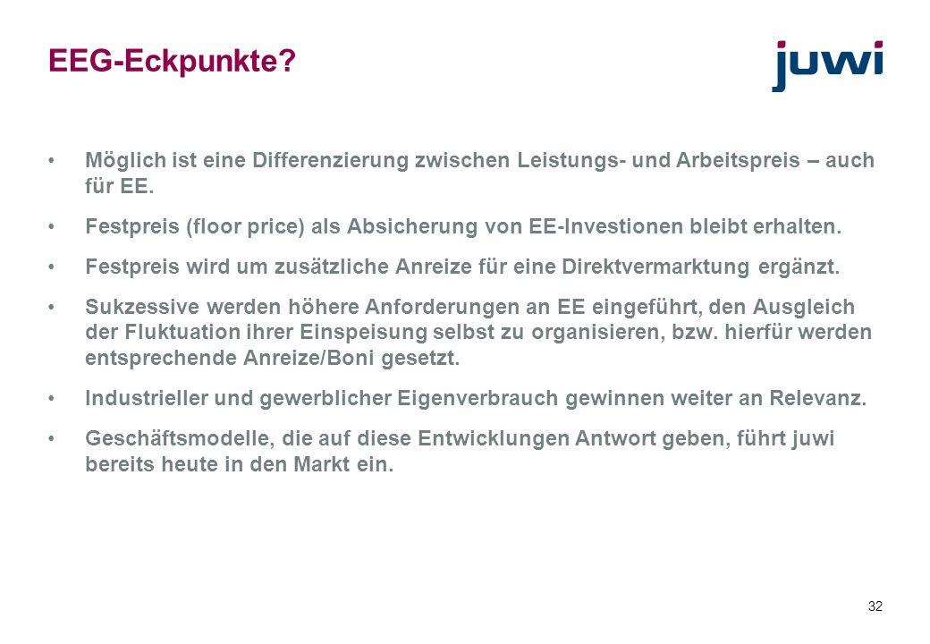 32 EEG-Eckpunkte? Möglich ist eine Differenzierung zwischen Leistungs- und Arbeitspreis – auch für EE. Festpreis (floor price) als Absicherung von EE-