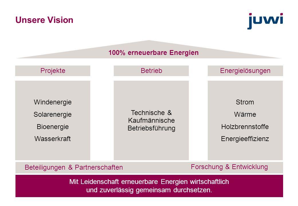 4 Unsere Vision Technische & Kaufmännische Betriebsführung Windenergie Solarenergie Bioenergie Wasserkraft Strom Wärme Holzbrennstoffe Energieeffizien
