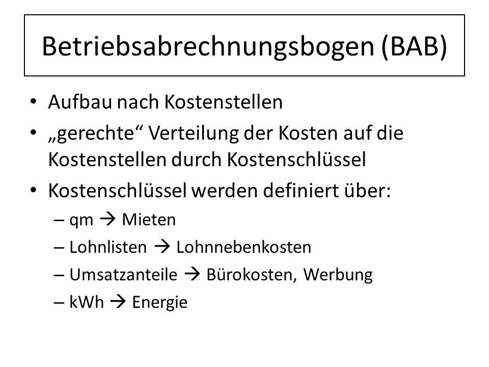 Betriebsabrechnungsbogen (BAB) Aufbau nach Kostenstellen gerechte Verteilung der Kosten auf die Kostenstellen durch Kostenschlüssel Kostenschlüssel we