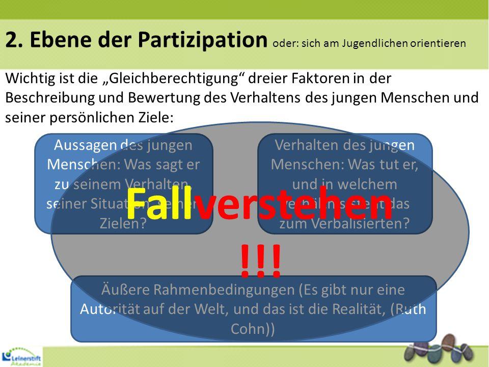 2. Ebene der Partizipation oder: sich am Jugendlichen orientieren Wichtig ist die Gleichberechtigung dreier Faktoren in der Beschreibung und Bewertung
