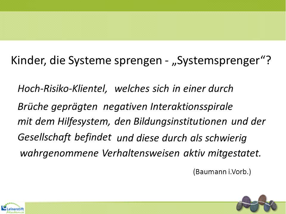 Kinder, die Systeme sprengen - Systemsprenger? Hoch-Risiko-Klientel,welches sich in einer durch Brüche geprägtennegativen Interaktionsspirale mit dem