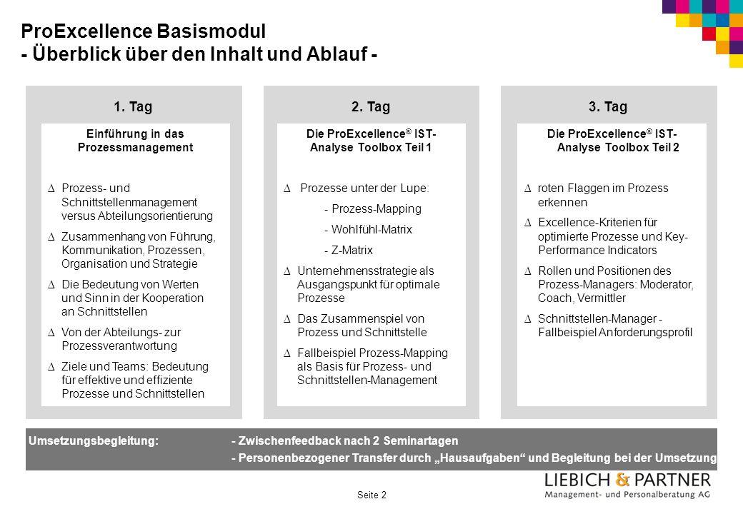 Seite 2 ProExcellence Basismodul - Überblick über den Inhalt und Ablauf - 1. Tag Einführung in das Prozessmanagement Prozess- und Schnittstellenmanage