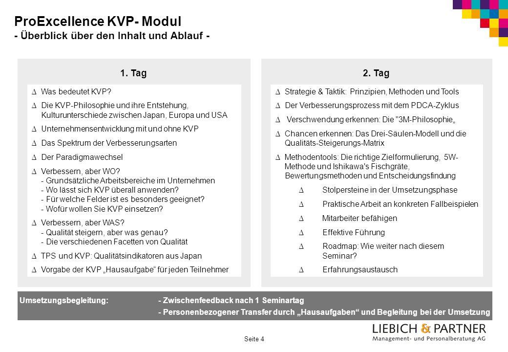 Seite 4 ProExcellence KVP- Modul - Überblick über den Inhalt und Ablauf - 1. Tag Was bedeutet KVP? Die KVP-Philosophie und ihre Entstehung, Kulturunte