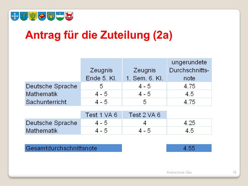 Kreisschule Gäu10 Antrag für die Zuteilung (2a)