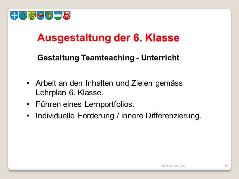 Kreisschule Gäu19 der 6. Klasse Ausgestaltung der 6. Klasse Gestaltung Teamteaching - Unterricht Arbeit an den Inhalten und Zielen gemäss Lehrplan 6.